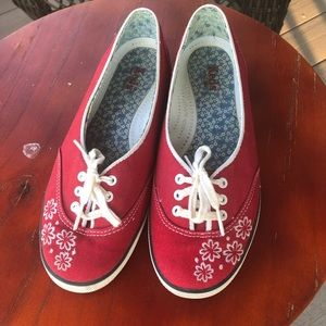 Keds Red Embroidered Floral Canvas Sneaker 7.5M